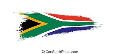 grunge, afrika, flagga, borsta, syd, stroke.