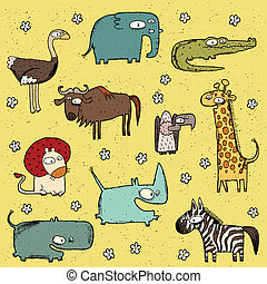 grunge, afrikansk, djuren, kollektion, no., 4
