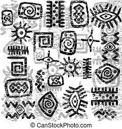 grunge, afrikansk, symboler, bakgrund