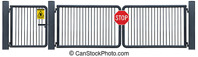 Grunge Aged Weathered Road Barrier Gate Stop Sign, Yellow