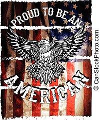 grunge, aigle, drapeau, américain