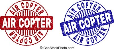 Grunge AIR COPTER Scratched Round Stamps