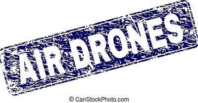 Grunge AIR DRONES Framed Rounded Rectangle Stamp