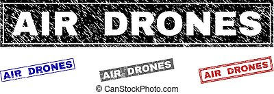 Grunge AIR DRONES Scratched Rectangle Stamp Seals