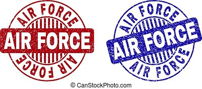 Grunge AIR FORCE Scratched Round Stamps