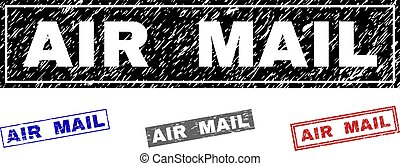 Grunge AIR MAIL Scratched Rectangle Stamps