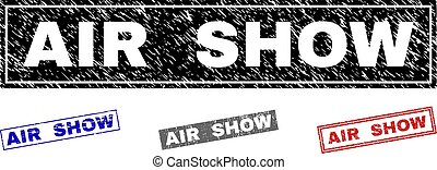 Grunge AIR SHOW Scratched Rectangle Stamps