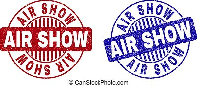Grunge AIR SHOW Scratched Round Stamps