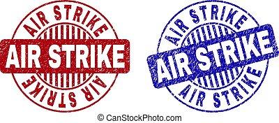 Grunge AIR STRIKE Scratched Round Stamps