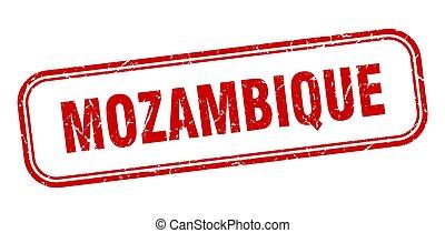grunge, aislado, mozambique, rojo, señal, stamp.