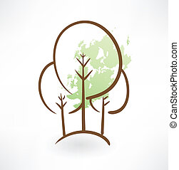 grunge, albero, icona