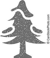grunge, -, albero, icona