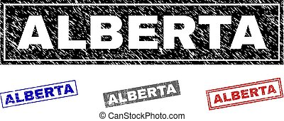 Grunge ALBERTA Scratched Rectangle Stamps