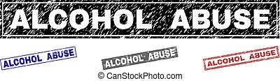 Grunge ALCOHOL ABUSE Textured Rectangle Stamp Seals