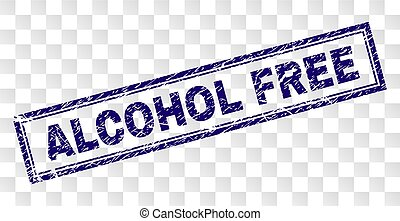 Grunge ALCOHOL FREE Rectangle Stamp