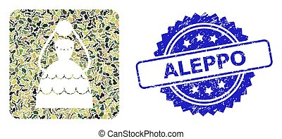Grunge Aleppo Stamp and Military Camouflage Collage of Bride...