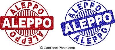 Grunge ALEPPO Textured Round Watermarks