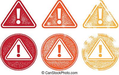 grunge, alerta, ícone, símbolos