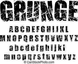 grunge, alfabet, -, 1
