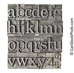 grunge, alfabeto, meta, tipo