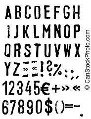 grunge, alfabeto, vettore, -