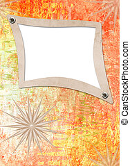 Grunge alienated paper design in scrapbooking style on the abstract background
