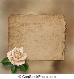 grunge alienated paper for congratulation with painting rose