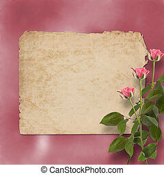 grunge alienated paper for congratulation with painting rose...
