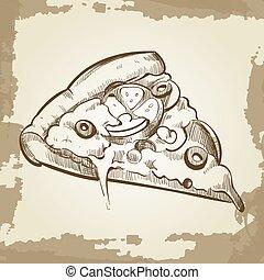grunge, alimento, vendimia, sketched, -, rápido, mano, plano de fondo, cartel, pizza
