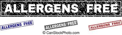 Grunge ALLERGENS FREE Textured Rectangle Stamp Seals