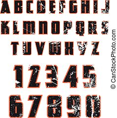 Grunge alphabet. Dirty painted english letters set. Vector ...