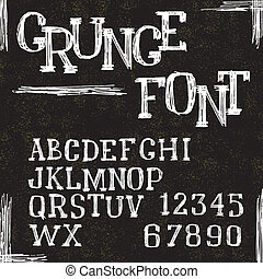 Grunge alphabet letters and numbers. Vector illustration.