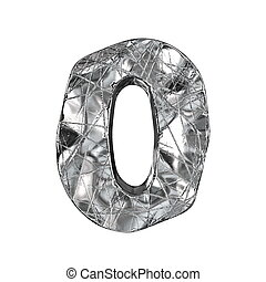 Grunge aluminium foil font number 0 ZERO 3D