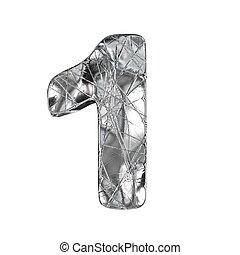 Grunge aluminium foil font number 1 ONE 3D