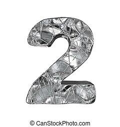 Grunge aluminium foil font number 2 TWO 3D