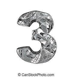 Grunge aluminium foil font number 3 THREE 3D