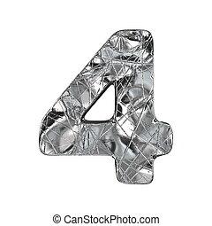 Grunge aluminium foil font number 4 FOUR 3D