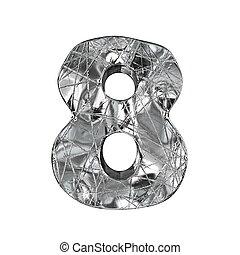 Grunge aluminium foil font number 8 EIGHT 3D