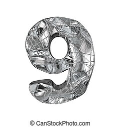 Grunge aluminium foil font number 9 NINE 3D