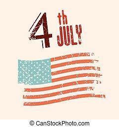 grunge, américain, illustration, drapeau, vecteur, 4, th, juillet