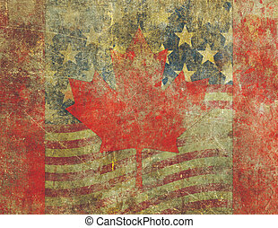 Grunge American and Canadian Flag Design Severly Faded and Damag