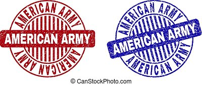 Grunge AMERICAN ARMY Scratched Round Watermarks