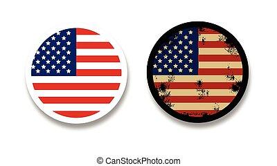 Grunge American flag badges