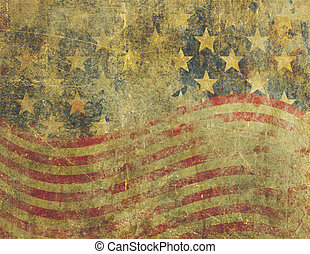Grunge American Flag Design Severly Faded and Damaged - A US...