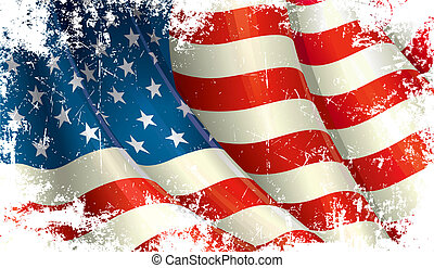 Grunge American Flag - Grunge close Up illustration of a...
