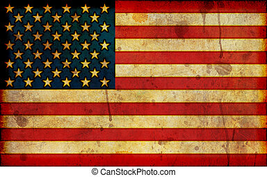 A dirty, stained flag of the United States in a grunge illustration style and in a wide screen aspect ratio.