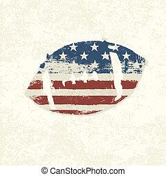 Grunge american flag themed ball symbol. Vector, EPS10