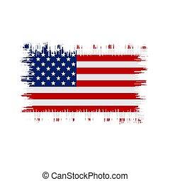 Grunge American flag. Vector flag of USA.