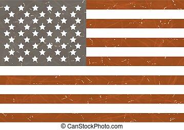 Grunge American flag. Vector illustration.