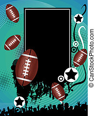 Grunge american football poster with the balls and stars on...